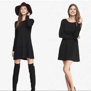 Express Dresses - Express Dark Blue Long Sleeve Trapeze Dress